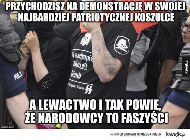 """""""Nie mamy nic wspólnego z faszyzmem"""" odc. 1488 (zdj zrobione 1 maja na demonstracji narodowców w Wwa)"""
