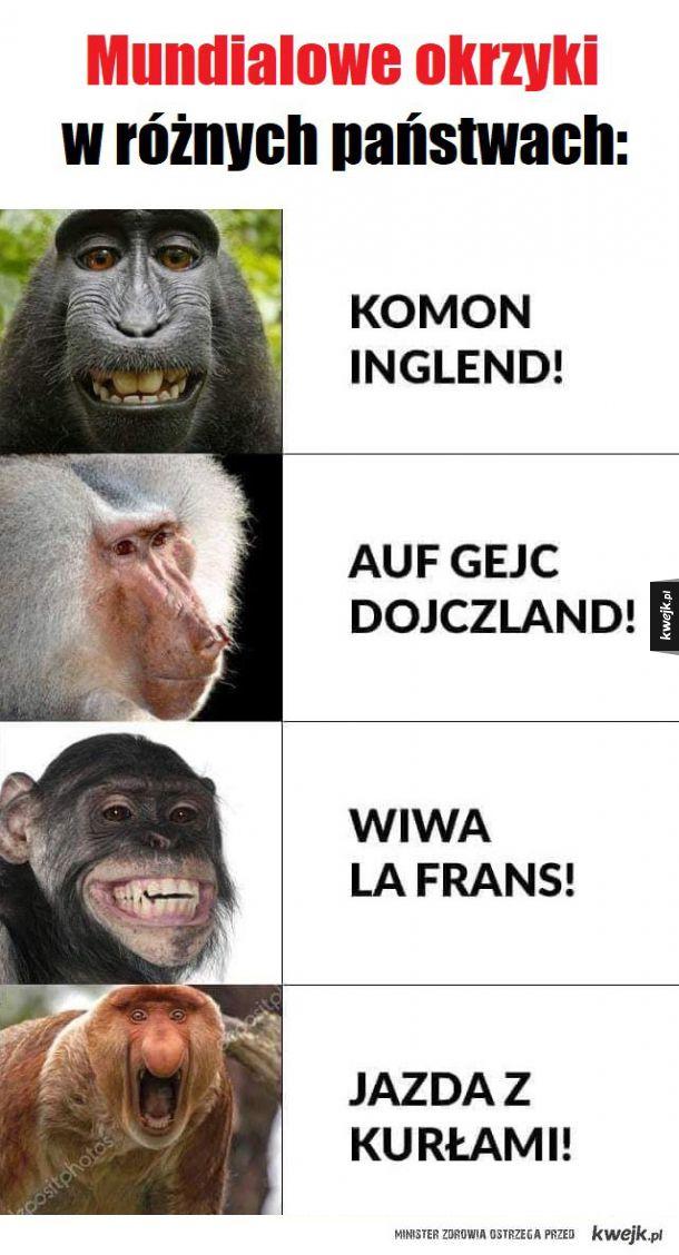 Mundialowe okrzyki w różnych państwach