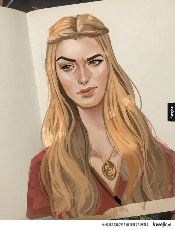 Piękny art Cersei w zeszycie