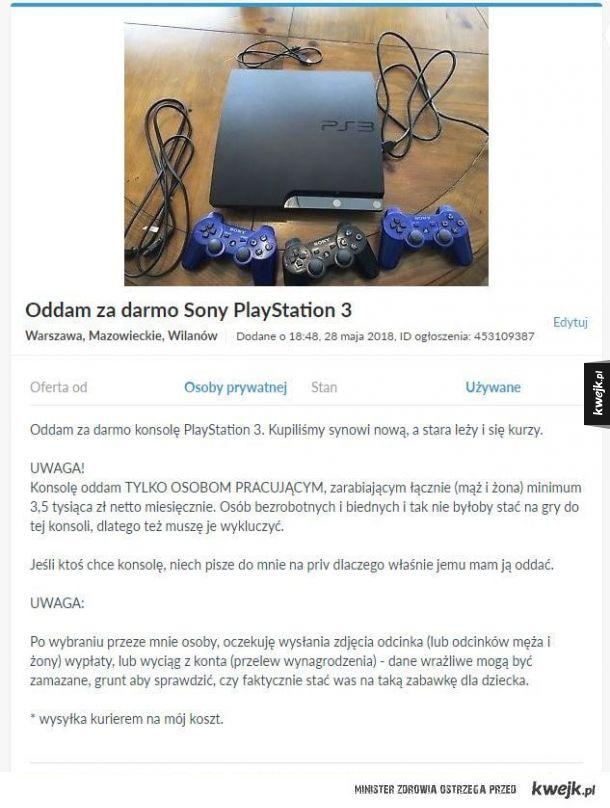 Oddam za darmo Sony Playstation 3