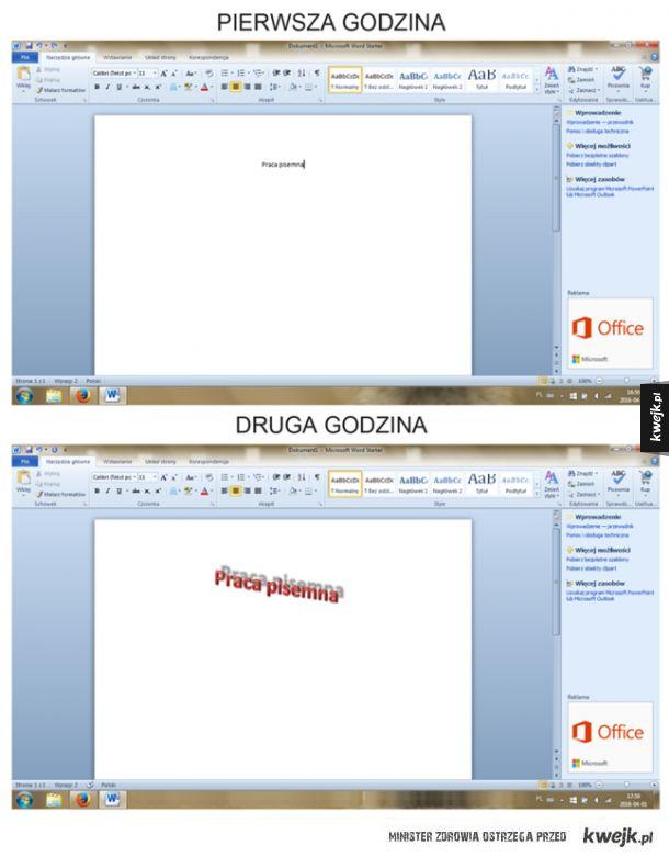 Pisanie pracy takie jest