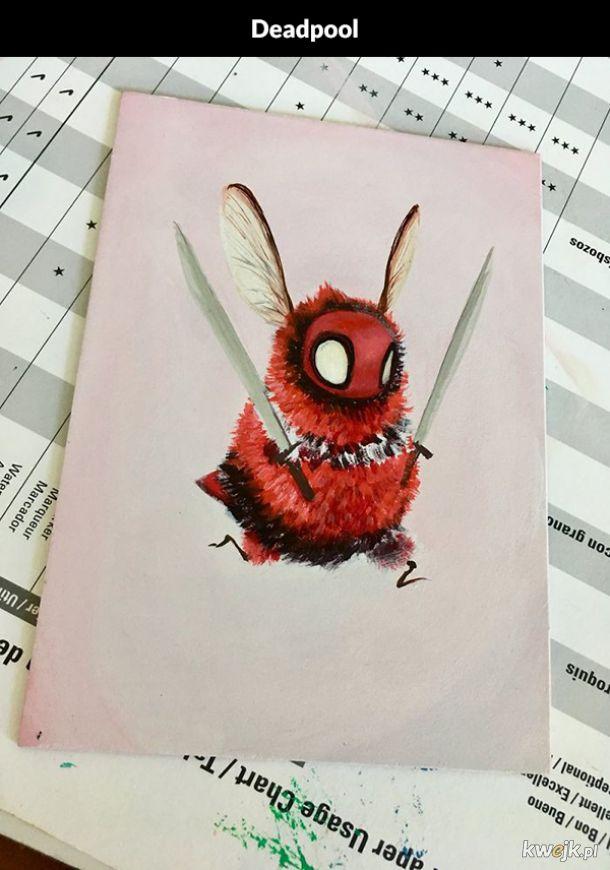Superbohaterowie i postacie z popkultury jako pszczółki (ilustracje Camilli d'Errico)