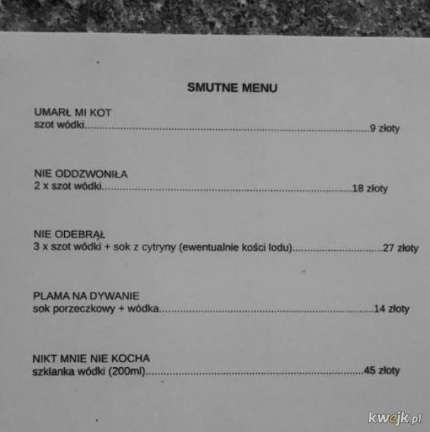 Smutne menu