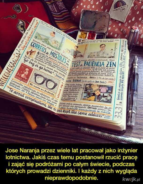 Mężczyzna rzucił pracę, by podróżować i prowadzić dziennik, a jego notatki to małe dzieła sztuki