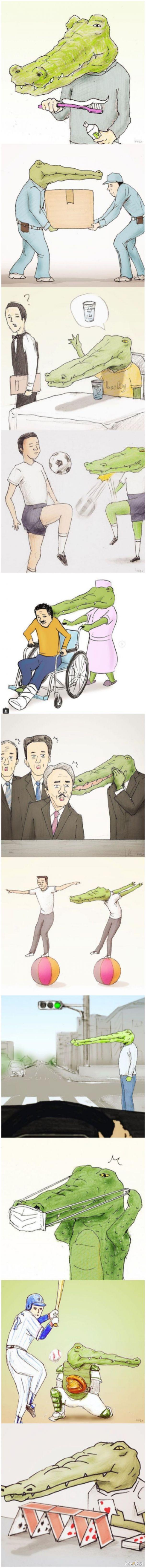 Komiks o ciężkim życiu krokodyla w dzisiejszych czasach