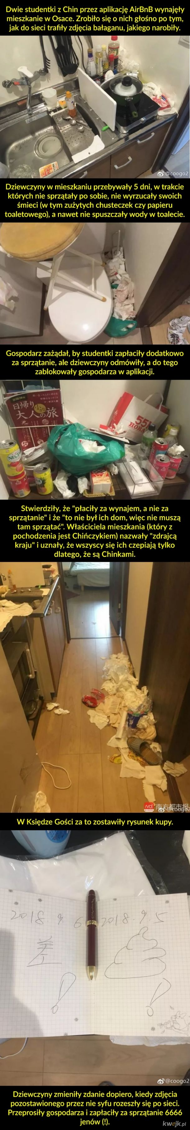 """Chinki odmówiły posprzątania po sobie w hostelu, bo """"to nie ich mieszkanie"""""""