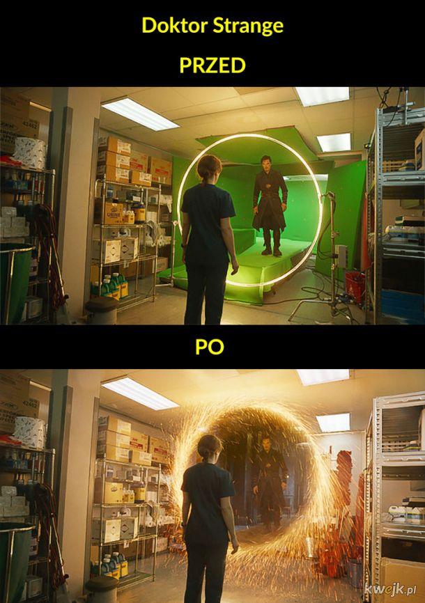 Sceny filmowe przed efektami specjalnymi i po