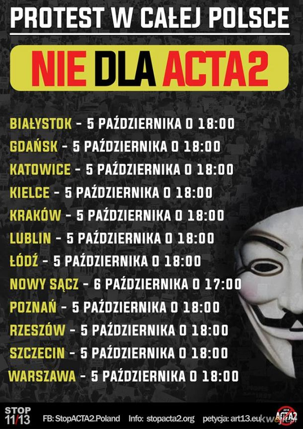 LISTA PROTESTÓW #STOPACTA2. Bądźmy tego dnia razem i zaprotestujmy w obronie Wolnego Internetu. Pełna lista na stopacta2.org