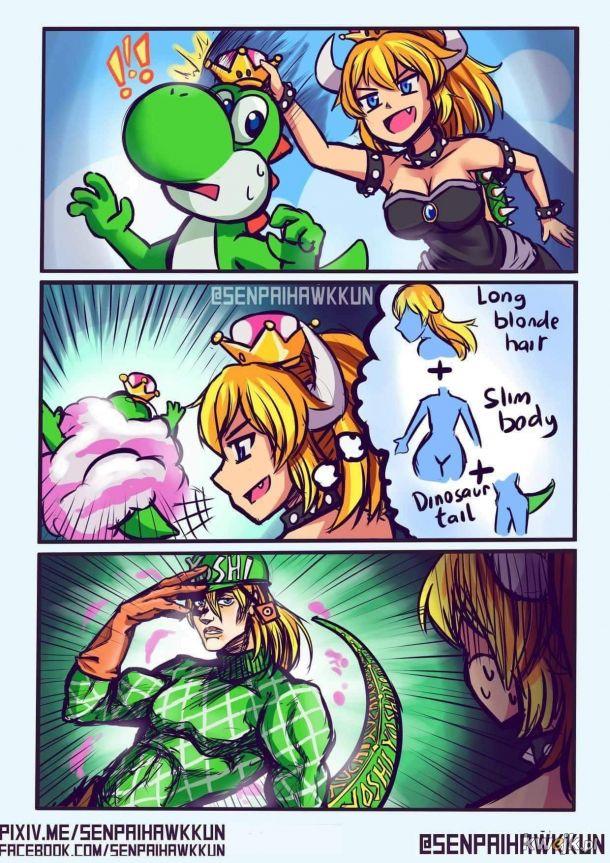 Bowsette vs yoshi