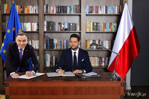 Patryk Jaki i Andrzej Duda, koloryzowane