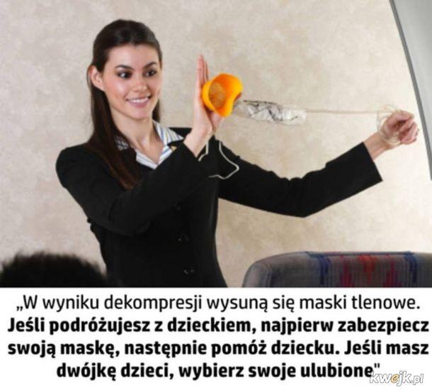 Instruktaż obsługi maski w samolocie