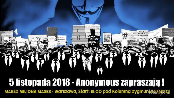 Warszawa 5 listopada - Anonymous zapraszają na Marsz Miliona Masek