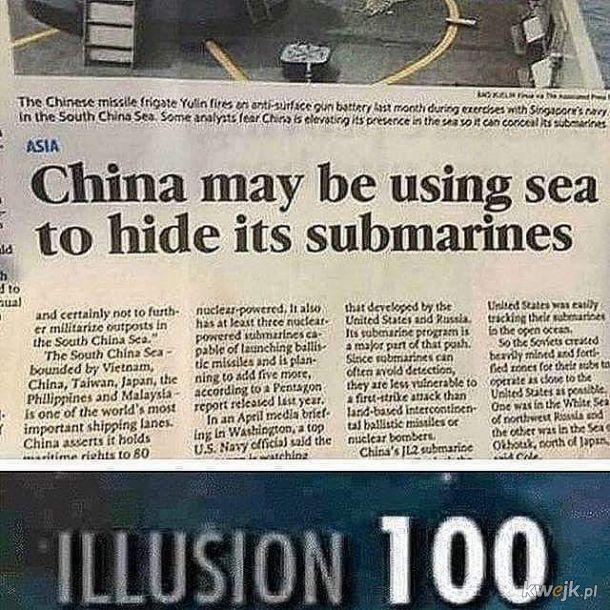Podstępni Chińczycy wykorzystują morze, by ukryć łodzie podwodne