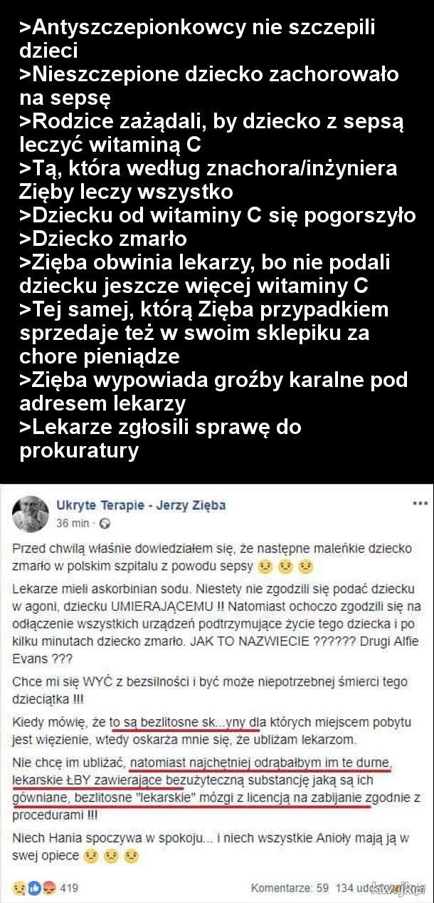 Jerzy Zięba o poznańskich lekarzach: 'Najchętniej odrąbałbym im te durne lekarskie łby'