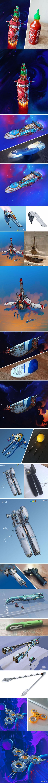 Zwykłe przedmioty zamienione w statki kosmiczne (autorstwa Erica Geusza)