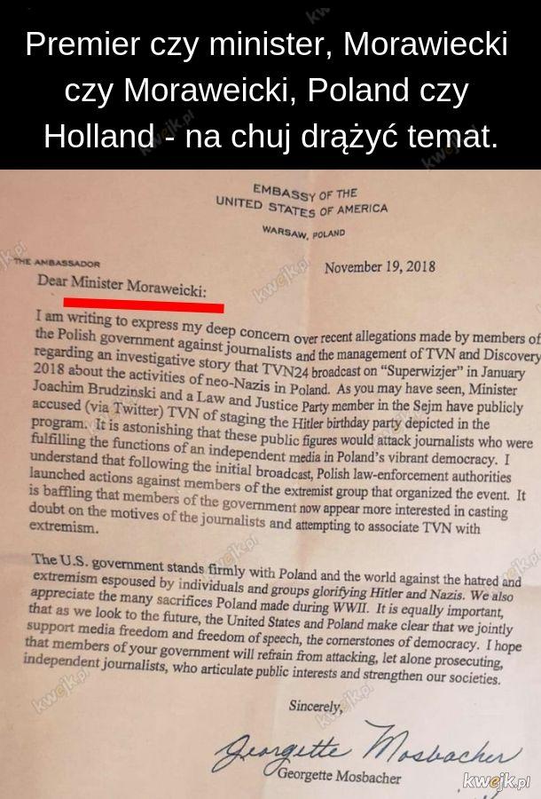 List Pani Ambasador Hameryki do ministra (premiera?)