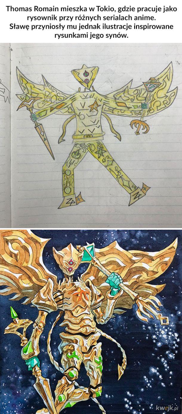 Ojciec ilustruje bazgroły swoich synów w stylu anime