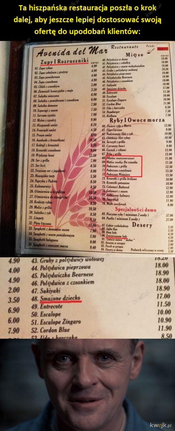 Bardzo dziwne, tłumaczone menu