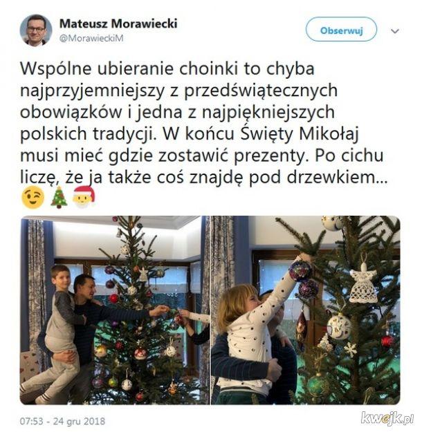 Internauci śmieją się ze świątecznego zdjęcia premiera Morawieckiego