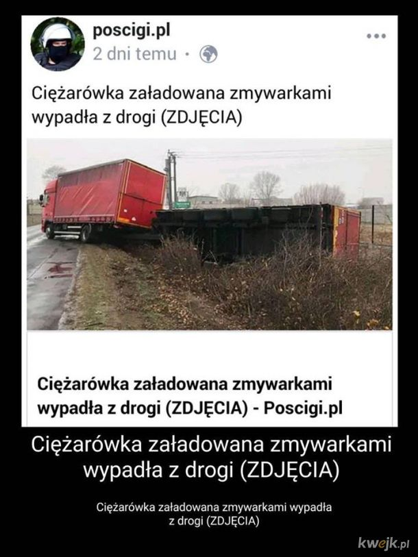 Ciężarówka załadowana zmywarkami wypadła z drogi