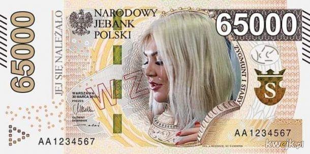 Nowy banknot 65000 ZŁ. Nazwa obiegowa: BLONDYNA