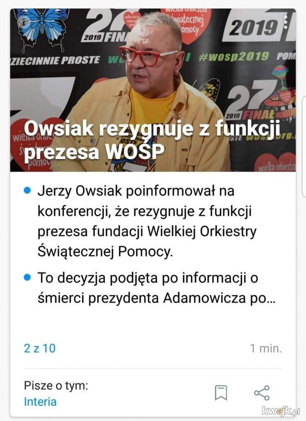 Owsiak rezygnuje w funkcji prezesa WOŚP
