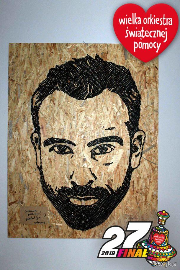 Portret Abelarda Gizy z wkrętów do wylicytowania WOŚP