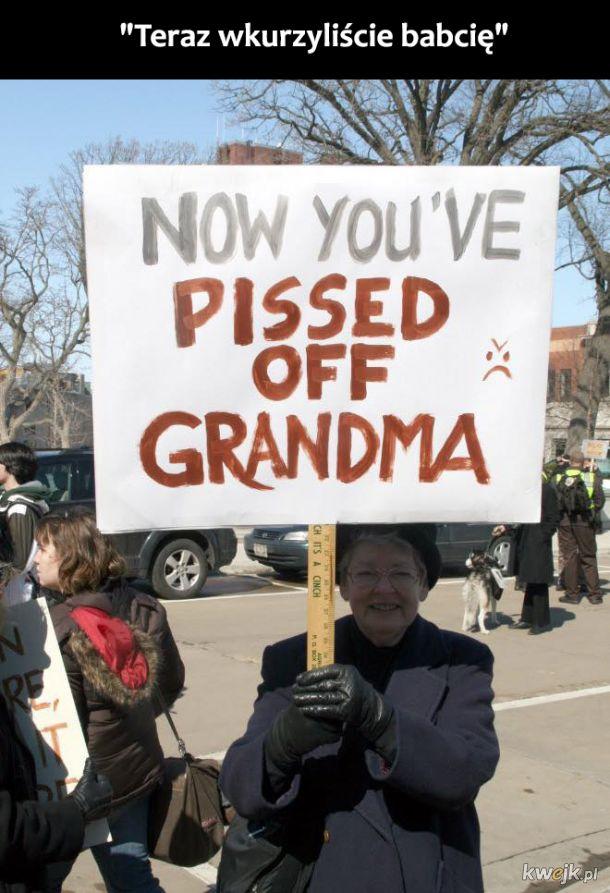 Zabawne znaki na protestach