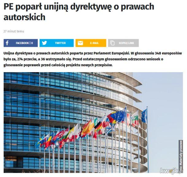 Parlament Europejski przyjął ACTA 2 (Artykuł 13)