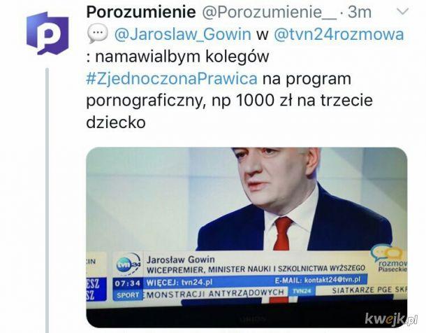 Gowin ogłosił nowy program zjednoczonej prawicy. TVN24 znowu deprawuje.