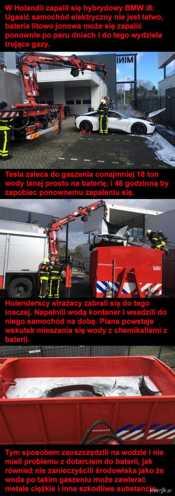 Pożar samochodu elektrycznego
