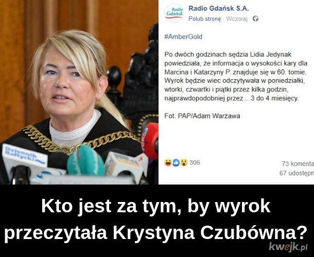 Wyrok w imieniu RP czytała Krystyna Czubówna