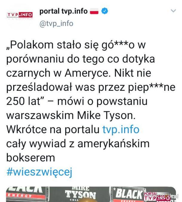 """Tyson ciosem sierpowym """"docenił"""" Polaków. Cenzor TVP szybko tego tweeta usunął, ale..."""