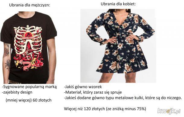 Ubrania dla mężczyzn VS ubrania dla kobiet