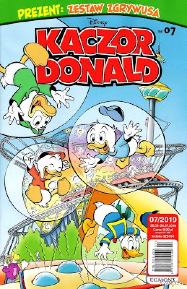 Kaczor Donald 2019-07 od dzisiaj w sprzedaży. W środku 43 stron komiksów w tym 6 stronicowy komiks Carla Barksa czy 12 stronicowy komiks ze Sknerusem McKwaczem i Granitem Forsantem