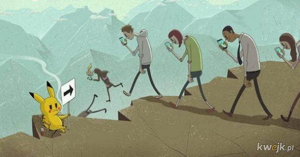 Ilustracje pokazujące co technologia z nami uczyniła