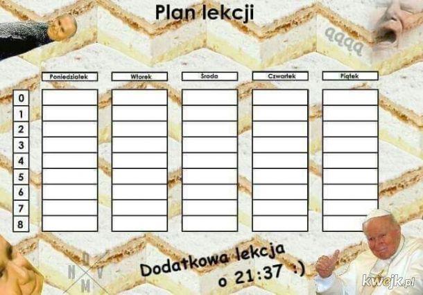 Papieżowy plan lekcji - plan lekcji Jan Paweł II kremówki edition