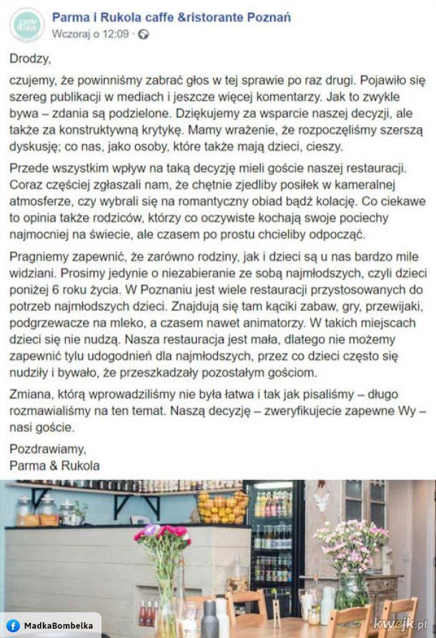 Poznańska restauracja po burzy o zakazie wstępu dzieci