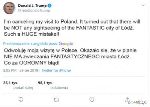 Donald Trump jednak nie przyleci - internet nie wybacza