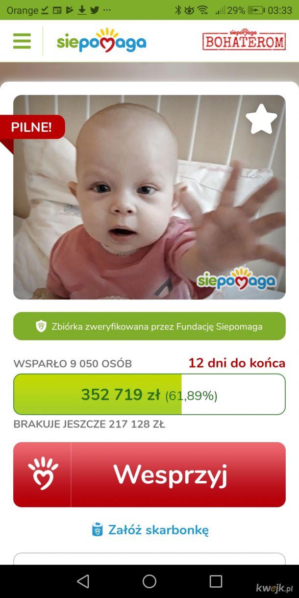 Twoje wsparcie może uratować jej życie wiem że to już było ale pozostało tylko 12 dni i jeszcze 200 tysięcy do zebrania https://www.siepomaga.pl/ratujemy-zuzie