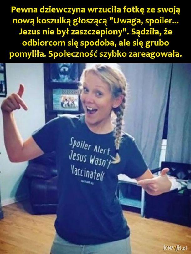 """Zwolenniczka antyszczepionkowców nie spodziewała się takiej reakcji na zdjęcie we """"wspaniałej"""" koszulce"""