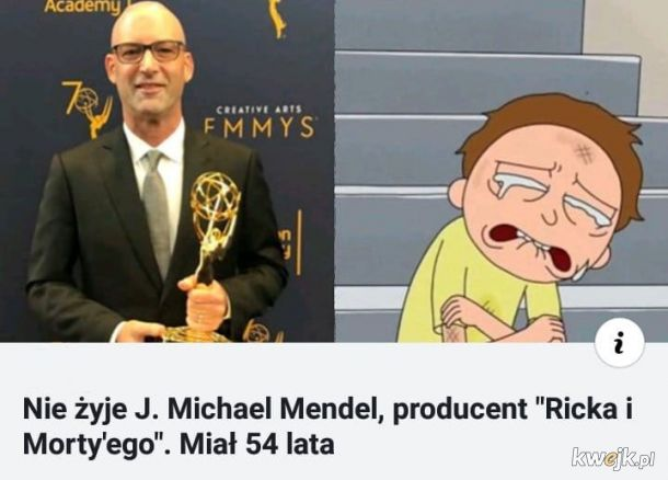 "Nie żyje producent ""Ricka i Morty'ego"" J. Michael Mendel"