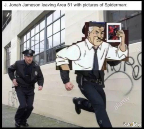Dżej, Dżona Dżemison uciekający ze strefy 51 z fotami spidermana