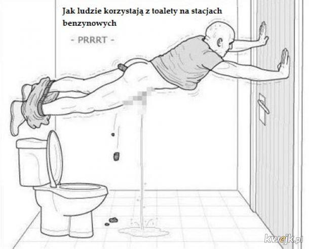 Jak ludzie korzystają z toalety na stacjach benzynowych