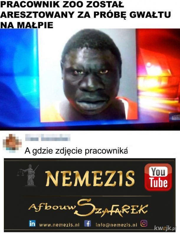 Łączymy się w bólu z pokrzywdzoną małpą - YouTube Szafarek Nemezis