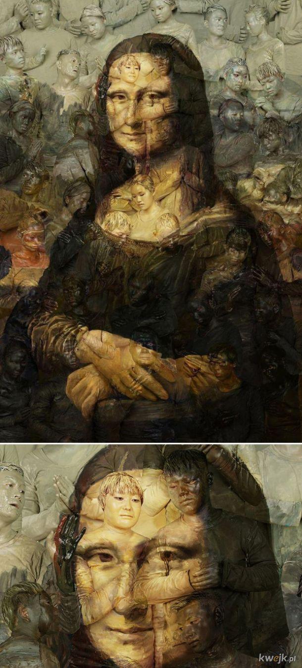Mona Lisa namalowana na żywych ludziach