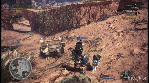Typowa gra w XXI wieku starszy pan i SILNA NIEZALEŻNA KOBIETA pchają wóz a potężny heros i neko mimi odpoczywają.