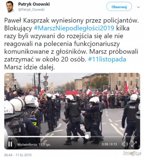 Policja wynosi antypolaków blokujących Marsz Niepodległości, a ludzie biją brawo :D