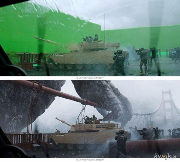 Sceny ze znanych filmów - przed i po nałożeniu efektów