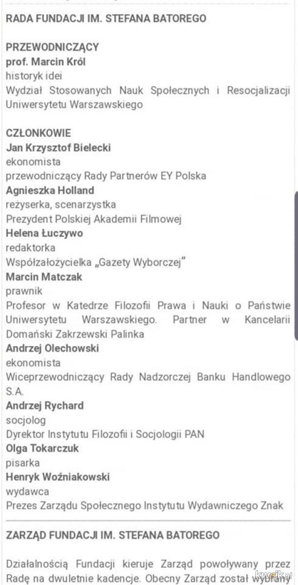 Co za przypadek, Tokarczuk należy o organizacji Sorosa zajmującej się głównie krytykowaniem Polski i finansowaniem takich akcji